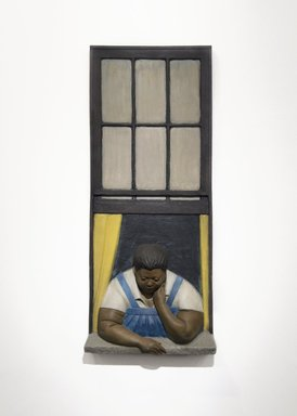 John Ahearn (American, born 1951). <em>Titi in Window</em>, 1985. Oil on reinforced polydam, 72 x 30 x 12 in. (182.9 x 76.2 x 30.5 cm). Brooklyn Museum, Gift of Cheryl and Henry Welt in memory of Abraham Joseph Welt, 87.194.1. © artist or artist's estate (Photo: Brooklyn Museum, 87.194.1_PS11.jpg)