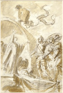 "Jean-Honoré Fragonard (French, 1732-1806). <em>Illustration for Ariosto's ""Orlando Furioso"": Orlando Returns Bireno to Olimpia</em>, 1780-1789. Black conté crayon and wash on laid paper, Sheet: 15 3/4 x 10 5/8 in. (40 x 27 cm). Brooklyn Museum, Purchased with funds given by Karen B. Cohen, 87.210.2 (Photo: Brooklyn Museum, 87.210.2_SL3.jpg)"
