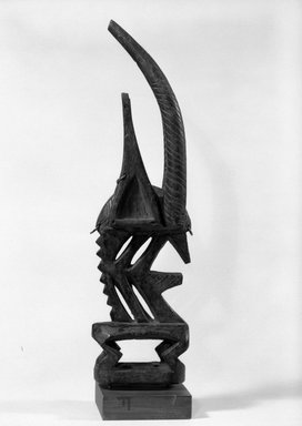 Bamana. <em>Dance Headdress (Ci-wara)</em>, late 19th-early 20th century. Wood, metal, 16 3/4 x 2 7/8  x 4 5/8 in. (42.5 x 7.3  x 11.7 cm). Brooklyn Museum, Gift of Dr. and Mrs. Abbott A. Lippman, 87.217.2. Creative Commons-BY (Photo: Brooklyn Museum, 87.217.2_side_bw.jpg)