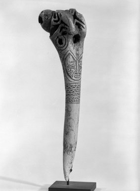 Abelam. <em>Dagger</em>. Bone, 7 3/4 x 1 3/4 x 2 1/2 in. (19.7 x 4.4 x 6.4 cm). Brooklyn Museum, Gift of Marcia and John Friede and Mrs. Melville W. Hall, 87.218.17. Creative Commons-BY (Photo: Brooklyn Museum, 87.218.17_bw.jpg)