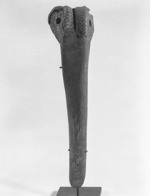 <em>Dagger</em>. Cassowary bone, ochre, 7 3/4 x 2 1/8 x 2 1/8 in. (19.7 x 5.4 x 5.4 cm). Brooklyn Museum, Gift of Marcia and John Friede and Mrs. Melville W. Hall, 87.218.51. Creative Commons-BY (Photo: Brooklyn Museum, 87.218.51_front_bw.jpg)