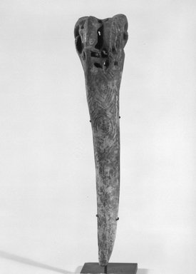 <em>Dagger</em>. Cassowary bone, 8 3/8 x 1 7/8 x 2 3/16 in. (21.3 x 4.8 x 5.6 cm). Brooklyn Museum, Gift of Marcia and John Friede and Mrs. Melville W. Hall, 87.218.52. Creative Commons-BY (Photo: Brooklyn Museum, 87.218.52_front_bw.jpg)