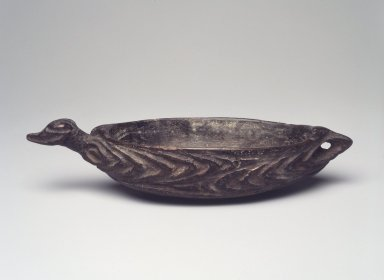 <em>Pigment Dish</em>, early 20th century. Wood, pigment, 1 1/4 x 6 1/4 x 2 1/4 in. (3.2 x 15.9 x 5.7 cm). Brooklyn Museum, Gift of Marcia and John Friede and Mrs. Melville W. Hall, 87.218.58. Creative Commons-BY (Photo: Brooklyn Museum, 87.218.58.jpg)