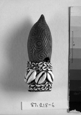 <em>Penis Cover</em>. Coconut shells, coir, 4 3/4 x 2 x 2 in. (12.1 x 5.1 x 5.1 cm). Brooklyn Museum, Gift of Marcia and John Friede and Mrs. Melville W. Hall, 87.218.6. Creative Commons-BY (Photo: Brooklyn Museum, 87.218.6_bw.jpg)