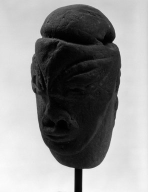 ni-Vanuatu. <em>Janiform Head</em>. Stone, 3 3/4 x 2 3/16 x 2 3/8 in. (9.5 x 5.6 x 6 cm). Brooklyn Museum, Gift of Marcia and John Friede and Mrs. Melville W. Hall, 87.218.91. Creative Commons-BY (Photo: Brooklyn Museum, 87.218.91_front_bw.jpg)