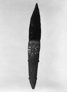 <em>Dagger</em>. Obsidian, clay, ochre, chalk, 9 3/16 x 1 5/8 x 1 1/8 in. (23.3 x 4.1 x 2.9 cm). Brooklyn Museum, Gift of Marcia and John Friede and Mrs. Melville W. Hall, 87.218.97. Creative Commons-BY (Photo: Brooklyn Museum, 87.218.97_bw.jpg)