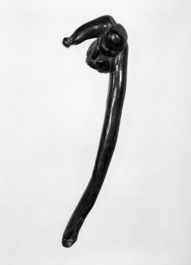 <em>Sashi (Elongated) Netsuke in Form of  a Gibbon</em>, 19th century. Carved buffalo horn, 1 1/2 x 5 1/2 in. (3.8 x 14 cm). Brooklyn Museum, Gift of Maybelle M. Dore, 87.228.7. Creative Commons-BY (Photo: Brooklyn Museum, 87.228.7_bw.jpg)