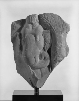 <em>Elephant and Mahout</em>, late 3rd century. Limestone, 8 x 6 1/2 x 3 3/4 in. Brooklyn Museum, Gift of Mr. and Mrs. Robert L. Poster, 87.234.1. Creative Commons-BY (Photo: Brooklyn Museum, 87.234.1_bw.jpg)