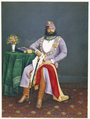 Attributed to Narsingh. <em>Maharaja Jaswant Singh II of Marwar</em>, ca. 1880. Opaque watercolors and gold on paper, sheet: 15 1/2 x 11 5/8 in.  (39.4 x 29.5 cm). Brooklyn Museum, Gift of Mr. and Mrs. Robert L. Poster, 87.234.6 (Photo: Brooklyn Museum, 87.234.6_IMLS_SL2.jpg)