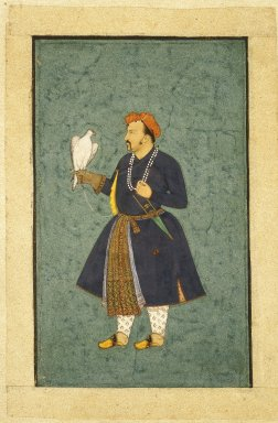 Attributed to 'Abid. <em>Portrait of Jahangir Holding a Falcon</em>, ca. 1600-1610. Opaque watercolor and gold on paper, sheet: 5 1/2 x 3 3/8 in.  (14 x 8.6 cm). Brooklyn Museum, Gift of Mr. and Mrs. Robert L. Poster, 87.234.7 (Photo: Brooklyn Museum, 87.234.7_IMLS_SL2.jpg)