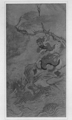 <em>Immortal Lifting a Dragon</em>, last half of 18th century. Ink and light color on paper, Overall: 61 1/2 x 30 3/4 in. (156.2 x 78.1 cm). Brooklyn Museum, Gift of Mrs. Richard L. Sneider, 87.235 (Photo: Brooklyn Museum, 87.235_bw.jpg)