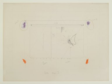 "Pat Steir (American, born 1940). <em>""Fear Map I,""</em> 1971. Graphite, colored pencil, and pastel, 15 x 20 in. (38.1 x 50.8 cm). Brooklyn Museum, Gift of Dr. Barry and Shea Gordon Festoff, 87.243.1. © artist or artist's estate (Photo: Brooklyn Museum, 87.243.1_PS2.jpg)"