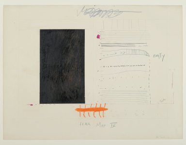 "Pat Steir (American, born 1940). <em>""Fear Map IV,""</em> 1971. Graphite, gouache, colored pencils, and red and pink ink on paper, 15 1/16 x 20 1/16 in. (38.3 x 51 cm). Brooklyn Museum, Gift of Dr. Barry and Shea Gordon Festoff, 87.243.4. © artist or artist's estate (Photo: Brooklyn Museum, 87.243.4_PS2.jpg)"
