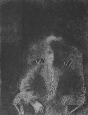 George Segal (American, 1924-2000). <em>Walter</em>, 1986-1987. Aquatint, soft-ground and drypoint on paper, sheet: 51 x 40 3/8 in. (129.5 x 102.6 cm). Brooklyn Museum, Gift of Carroll Janis, 87.247.6 (Photo: Brooklyn Museum, 87.247.6_bw.jpg)