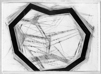 Mark Saltz (American, born 1948). <em>Clunk</em>, 1986. Charcoal, pastel and crayon on paper, 45 x 41 in. (114.3 x 104.1 cm). Brooklyn Museum, Gift of Robert Lemmerman, 87.40. © artist or artist's estate (Photo: Brooklyn Museum, 87.40_bw.jpg)