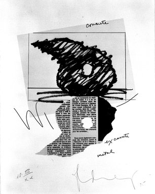 Claes Oldenburg (American, born Sweden 1929). <em>Study for a Sculpture in the Form of an Inverted Q: Above and Below Ground</em>, 1975. Etching and soft -ground etching, lithograph and offset, on paper, sheet: 14 x 11 in. (35.6 x 27.9 cm). Brooklyn Museum, Gift of Susan Lorence, 87.42. © artist or artist's estate (Photo: Brooklyn Museum, 87.42_bw.jpg)