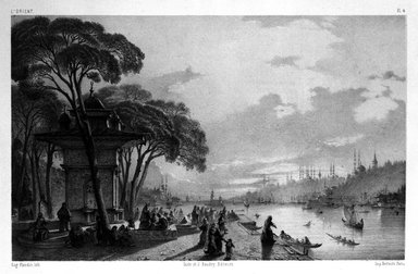 "Eugène Flandin (French, 1809-1876). <em>Plate from ""L'Orient,""</em> n.d. Lithograph with chine colle, Sheet: 14 3/16 x 21 1/2 in. (36 x 54.6 cm). Brooklyn Museum, Gift of Dr. Bertram H. Schaffner, 87.45.2 (Photo: Brooklyn Museum, 87.45.2_bw.jpg)"