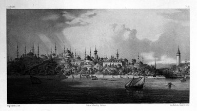 "Eugène Flandin (French, 1809-1876). <em>Plate from ""L'Orient,""</em> n.d. Lithograph with chine colle, Image: 6 1/16 x 11 1/2 in. (15.4 x 29.2 cm). Brooklyn Museum, Gift of Dr. Bertram H. Schaffner, 87.45.3 (Photo: Brooklyn Museum, 87.45.3_bw.jpg)"