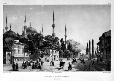 """Eugène Flandin (French, 1809-1876). <em>Plate from """"L'Orient,""""</em> n.d. Lithograph with chine colle, Sheet: 14 1/16 x 21 7/16 in. (35.7 x 54.4 cm). Brooklyn Museum, Gift of Dr. Bertram H. Schaffner, 87.45.4 (Photo: Brooklyn Museum, 87.45.4_bw.jpg)"""