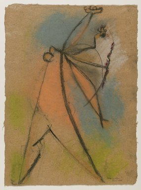 Max Weber (American, born Russia, 1881-1961). <em>The Dancer</em>, June 1946. Pastel on brown, moderately thick, rought-textured laid paper, Sheet: 18 3/16 x 13 1/4 in. (46.2 x 33.7 cm). Brooklyn Museum, Gift from collection Hannelore B. Schulhof, New York, 87.46.1 (Photo: Brooklyn Museum, 87.46.1_PS6.jpg)
