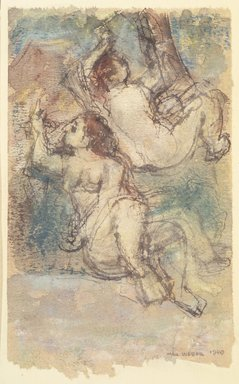 Max Weber (American, born Russia, 1881-1961). <em>Bathers</em>, 1940. Watercolor and graphite on paper mounted to paper backing, Sheet (watercolor): 6 7/8 x 4 1/8 in. (17.5 x 10.5 cm). Brooklyn Museum, Gift from collection Hannelore B. Schulhof, New York, 87.46.4 (Photo: Brooklyn Museum, 87.46.4_transpc001.jpg)