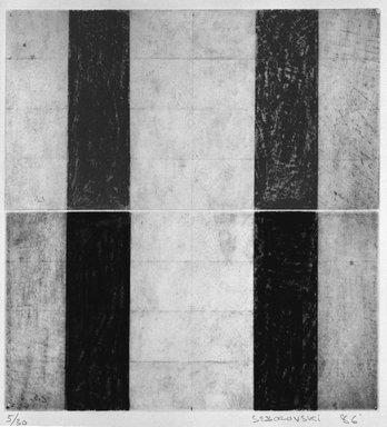 Carole Seborovski (American, born 1960). <em>Cast Shadows</em>, 1986. Aquatint gravure on paper, sheet: 16 1/8 x 13 5/8 in. (41 x 34.6 cm). Brooklyn Museum, Purchase gift of Werner H. Kramarsky, 87.55.2. © artist or artist's estate (Photo: Brooklyn Museum, 87.55.2_bw.jpg)