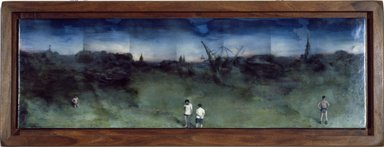 Steve Hawley (American, born 1950). <em>Skyline</em>, 1982. Oil, wax, and alkyd on composition board, 7 1/4 x 22 3/4 in.  (18.4 x 57.8 cm). Brooklyn Museum, Purchased with funds given by Dorothy C. Danforth, 87.5. © artist or artist's estate (Photo: Brooklyn Museum, 87.5_slide_SL3.jpg)