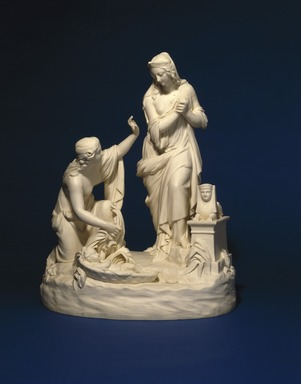 Josiah Wedgwood & Sons Ltd. (founded 1759). <em>Figural Group, The Finding of Moses</em>, 1850-1860. Bisque porcelain, 19 3/4 x 15 1/2 x 11 in. (50.2 x 39.4 x 27.9 cm). Brooklyn Museum, Designated Purchase Fund, 87.74. Creative Commons-BY (Photo: Brooklyn Museum, 87.74_SL1.jpg)