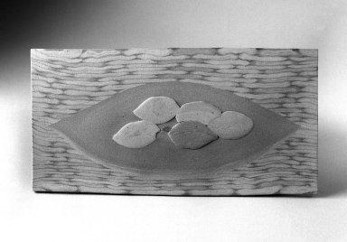 Matsui Kosei (Japanese, 1927-2003). <em>Fallen Leaves</em>, ca. 1980. Ceramic, 5 3/4 x 11 x 1/4 in. (14.6 x 27.9 x 0.6 cm). Brooklyn Museum, Gift of Sidney B. Cardozo, Jr., 87.80. © artist or artist's estate (Photo: Brooklyn Museum, 87.80_bw.jpg)