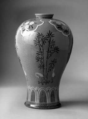 Kyung-hee Lee (Korean, born 1925). <em>Inlaid Celadon Prunus Vase</em>, 1986. Porcelain with glaze, 10 1/2 x 6 1/2 in.  (26.7 x 16.5 cm). Brooklyn Museum, Gift of Dr. Kyung-hee Lee, 87.81.1. Creative Commons-BY (Photo: Brooklyn Museum, 87.81.1_bw.jpg)