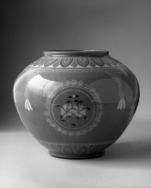 Kyung-hee Lee (Korean, born 1925). <em>Inlaid Celadon Jar</em>, 1986. Porcelain with glaze, 8 1/2 x 10 in.  (21.6 x 25.4 cm). Brooklyn Museum, Gift of Dr. Kyung-hee Lee, 87.81.2. Creative Commons-BY (Photo: Brooklyn Museum, 87.81.2_bw.jpg)
