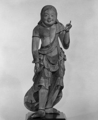 <em>Doji (Altar Attendant)</em>, 17th century. Polychromed wood, H (excl. of base): 19 1/2 in. (49.5 cm). Brooklyn Museum, Gift of Deila Schwab in memory of Charles E. Schwab, 87.83. Creative Commons-BY (Photo: Brooklyn Museum, 87.83_bw.jpg)