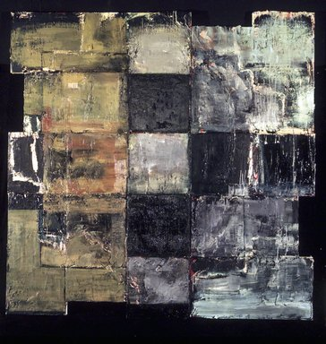 Michael David (American, born 1954). <em>Golem II</em>, 1986-1987. Oil, wax, and acrylic on canvas, overall: 100 5/8 x 100 1/2 x 3 7/8 inches (255.6 x 255.3 x 9.8 cm). Brooklyn Museum, Purchase gift of Sidney Singer, Jr., 87.89a-b. © artist or artist's estate (Photo: Brooklyn Museum, 87.89a-b.jpg)