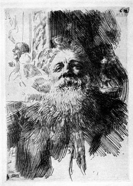 Anders Zorn (Swedish, 1860-1920). <em>Auguste Rodin</em>, 1906. Etching on laid paper, Image: 8 3/8 x 6 1/8 in. (21.2 x 15.5 cm). Brooklyn Museum, Gift of the Iris and B. Gerald Cantor Foundation, 87.94.1 (Photo: Brooklyn Museum, 87.94.1_bw.jpg)