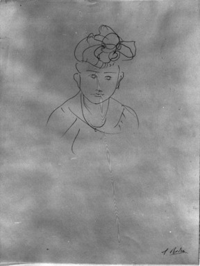 Auguste Rodin (French, 1840-1917). <em>Head of Jean Simpson (Tête de Jean Simpson)</em>, 1903. Pencil on wove paper, 12 15/16 x 9 13/16 in. (32.9 x 24.9 cm). Brooklyn Museum, Gift of the Iris and B. Gerald Cantor Foundation, 87.94.3 (Photo: Brooklyn Museum, 87.94.3_bw.jpg)