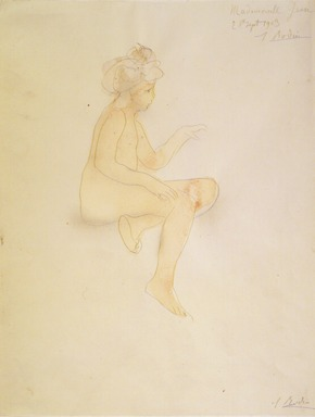 Auguste Rodin (French, 1840-1917). <em>Miss Jean Simpson, Seated (Mlle Jean Simpson, assise)</em>, 1903. Pencil and watercolor on wove paper, 12 13/16 x 9 7/8 in. (32.5 x 25.1 cm). Brooklyn Museum, Gift of the Iris and B. Gerald Cantor Foundation, 87.94.4 (Photo: Brooklyn Museum, 87.94.4_transpc002.jpg)