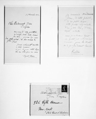 Auguste Rodin (French, 1840-1917). <em>Letter in Rodin's hand. Thank You Note to Mademoiselle Jean Simpson for the card she desinged</em>, n.d. India ink on paper, 7 x 4 5/16 in. (17.8 x 11 cm). Brooklyn Museum, Gift of the Iris and B. Gerald Cantor Foundation, 87.94.5 (Photo: , 87.94.5_87.94.6_87.94.7_bw.jpg)