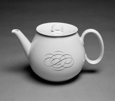 Raymond Loewy (American, born France, 1893-1986). <em>Teapot with Lid</em>, ca. 1953. Porcelain, 5 1/2 x 9 x 3 1/4 in. (14 x 22.9 x 8.3 cm). Brooklyn Museum, Gift of Mrs. William Liberman, 88.108a-b. Creative Commons-BY (Photo: Brooklyn Museum, 88.108a-b_bw.jpg)