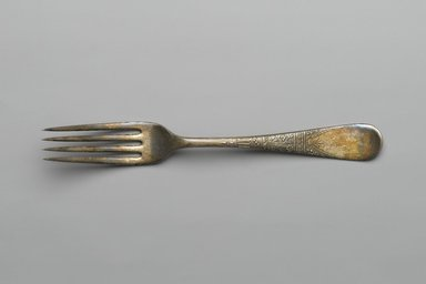 1847 Rogers Brothers. <em>Dinner Fork, Lorne Pattern</em>, ca. 1878. Silverplate, 7 1/2 x 15/16 x 7/8 in. (19.1 x 2.5 x 2.2 cm). Brooklyn Museum, Gift of Robert Tuggle, 88.112.8. Creative Commons-BY (Photo: Brooklyn Museum, 88.112.8_PS2.jpg)