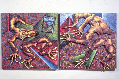 Francisco Alvarado-Juarez (American, born Honduras, 1950). <em>Possible Retreat</em>, 1986. Mixed media on canvas and wood, diptych: 69 x 157 x 17 in. (175.3 x 398.8 x 43.2 cm). Brooklyn Museum, Gift of Louis V. and Alison Farrar, 88.119a-p. © artist or artist's estate (Photo: Brooklyn Museum, 88.119a-p_slide_SL3.jpg)