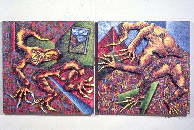 Francisco Alvarado-Juarez (American, born Honduras, 1950). <em>Possible Retreat</em>, 1986. Mixed media on canvas and wood, diptych: 69 x 157 x 17 in. (175.3 x 398.8 x 43.2 cm). Brooklyn Museum, Gift of Louis V. and Alison Farrar, 88.119a-p. © artist or artist's estate (Photo: Brooklyn Museum, 88.119a-p_slide_SL3.jpg)