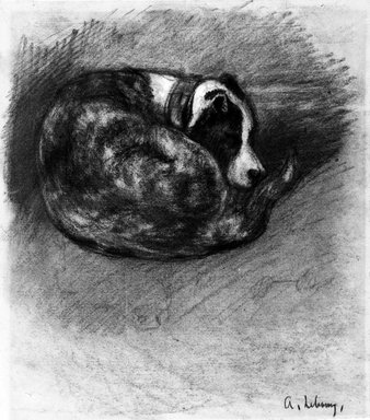 Charles-Albert Lebourg (French, 1849-1928). <em>Sleeping Dog (Chien endormi)</em>, ca. 1870. Charcoal and white chalk on laid paper, 10 1/8 x 9 in. (25.7 x 22.9 cm). Brooklyn Museum, Purchased with funds given by Karen B. Cohen, 88.139 (Photo: Brooklyn Museum, 88.139_bw.jpg)