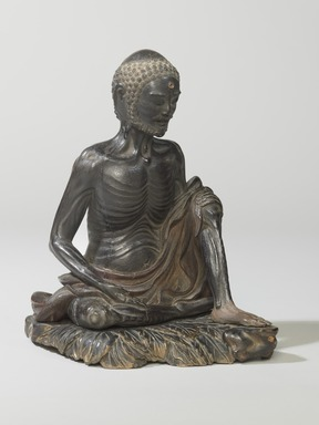 <em>Ascetic Shakyamuni</em>, 16th century. Wood with pigmented lacquer, inlaid crystal, metal, 8 1/2 x 6 1/16 x 7 1/8 in. (21.6 x 15.4 x 18 cm). Brooklyn Museum, Gift of the Asian Art Council, 88.145a-b. Creative Commons-BY (Photo: , 88.145a-b_threequarter_PS6.jpg)