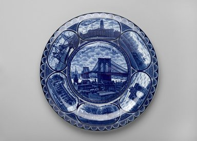 The Rowland & Marsellus Company (1893-1938). <em>Plate</em>, ca. 1904. Glazed earthenware, 1 1/4 x 10 in.  (3.2 x 25.4 cm). Brooklyn Museum, Gift of Emma and Jay Lewis, 88.153.10. Creative Commons-BY (Photo: Brooklyn Museum, 88.153.10_PS2.jpg)