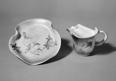 Clement Massier (French, 1844-1917). <em>Cup and Saucer from a Nine Piece Tea Service</em>, ca. 1900. Glazed earthenware, cup height:   2 3/4 in.  (7.0 cm);. Brooklyn Museum, Gift of Emma and Jay Lewis, 88.153.9a-b. Creative Commons-BY (Photo: Brooklyn Museum, 88.153.9a-b_bw.jpg)