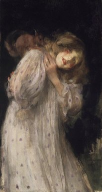 James Jebusa Shannon (American, 1862-1923). <em>The Squirrel</em>, 1896. Oil on canvas, 37 1/8 x 20 3/16 in. (94.3 x 51.3 cm). Brooklyn Museum, Anonymous gift, 88.163 (Photo: Brooklyn Museum, 88.163_transp2946.jpg)