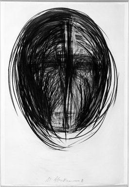 Magdalena Abakanowicz (Polish, 1930-2017). <em>Untitled (Head)</em>, 1984. Charcoal on paper, 47 1/2 x 31 3/4in. (120.7 x 80.6cm). Brooklyn Museum, Anonymous gift , 88.170.1. © artist or artist's estate (Photo: Brooklyn Museum, 88.170.1_bw.jpg)
