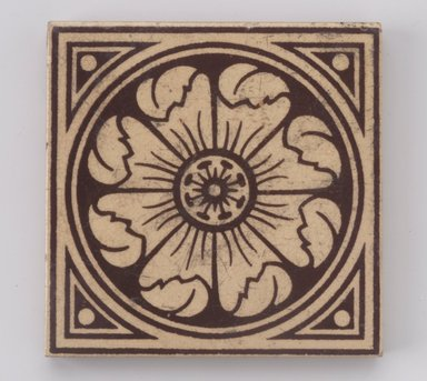 International Tile Company. <em>Tile</em>, 1882-1888. Earthenware, 1/2 x 4 1/4 x 4 1/4 in. (1.3 x 10.8 x 10.8 cm). Brooklyn Museum, Gift of Dr. Barry R. Harwood, 88.18. Creative Commons-BY (Photo: Brooklyn Museum, 88.18.jpg)