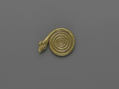 Akan. <em>Gold-weight (abrammuo): snake</em>, 19th-20th century. Cast brass, 1/8 x 1 1/4 in. (0.3 x 3.2 cm). Brooklyn Museum, Gift of Mr. and Mrs. Franklin H. Williams, 88.192.103. Creative Commons-BY (Photo: Brooklyn Museum, 88.192.103_PS6.jpg)