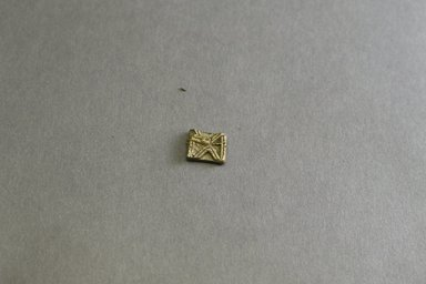 Akan. <em>Gold-weight (abrammuo): geometric</em>, 19th-20th century. Copper alloy, 1/2 x 3/8 x 1/8 in. Brooklyn Museum, Gift of Mr. and Mrs. Franklin H. Williams, 88.192.108. Creative Commons-BY (Photo: Brooklyn Museum, 88.192.108_front_PS5.jpg)
